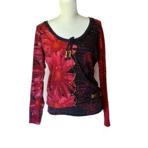 Desigual Red Floral Top XL